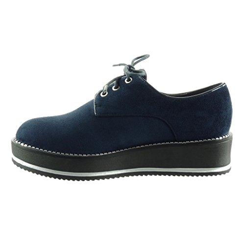 CM 5 donna Tacco scarpa Scarpe derby 4 zeppe da zip Angkorly Moda zeppa Blu wnFfx4Pf7