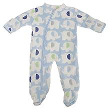 Baby Boys/Girls Side Zipped Elephant Fleece Sleepsuit
