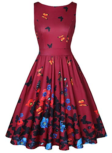 MISSJOY Women's Boat-Neck Floral Sleeveless Midi Fit Flare Dress with Pocket WineRed