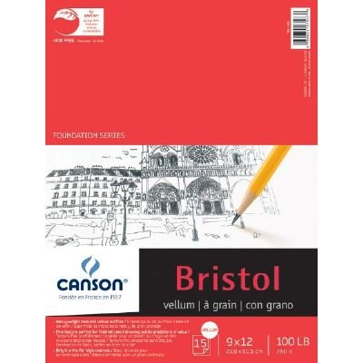 Canson Foundation Series Bristol Paper Pad, Heavyweight High Contrast Paper for Pencil, Vellum Finish, 100 Pound, 9 x 12 Inch, Bright White, 15 ()
