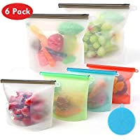 Reusable Silicone Food Storage Bags Ziplock Bags | Sandwich, Sous Vide, Liquid, Snack, Lunch, Fruit, Freezer Airtight Seal | BEST for preserving and cooking | (2 Large + 2 Medium + 2 Small)