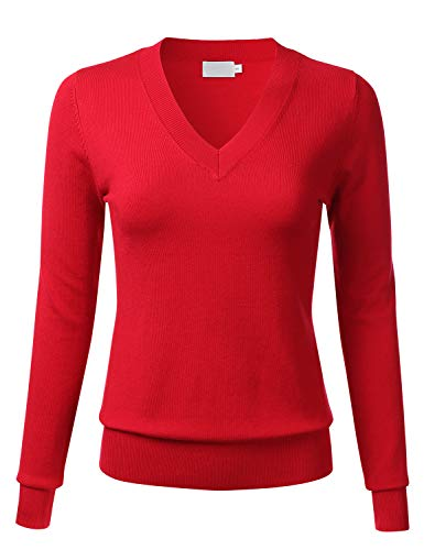 Red Pullover Sweater - FLORIA Womens Soft Basic Thick V-Neck Pullover Long Sleeve Knit Sweater RED2 L