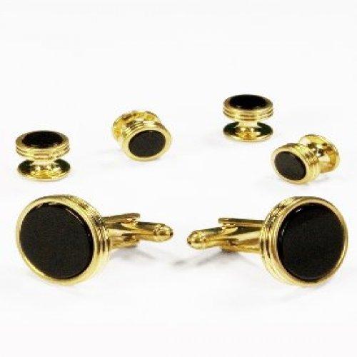 Black Onyx Concentric Circle Edge Tuxedo Studs and Cufflinks Gold Trim (Circle Cufflinks Gold)