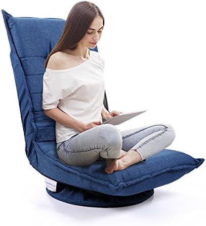 JAXPETY Fabric 360 Degree Swivel Game Chair, Folding 5-Position Adjustable Floor Lazy Sofa Chair, Blue
