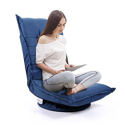 LAZYMOON Folding Fabric Game Chair Floor Lazy Sofa Chair 5-Position Adjustable Swivel Gaming Chair Blue