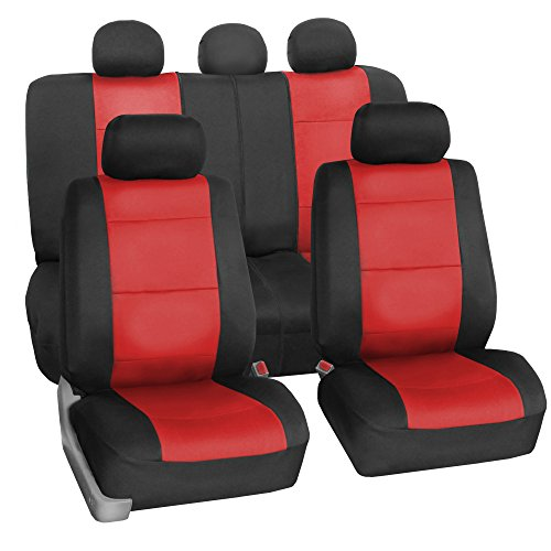 fh group fh fb083115 neoprene waterproof car seat covers airbag ready rear split red fit most. Black Bedroom Furniture Sets. Home Design Ideas
