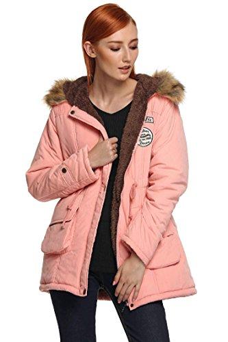 Redingote Fourrure Top Epais cooshional Veste Blouson Femme Longue Polaire Chic Manteau Capuche Rose Hiver Parka Pull BqaU8S