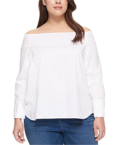 Tommy Hilfiger Women's Plus Size Off-The-Shoulder Top (White, 2X) (Top Ladies Hilfiger Tommy)