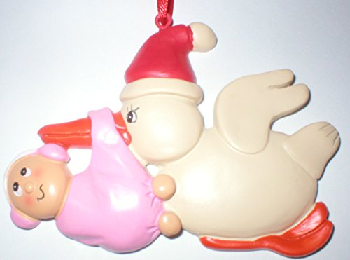 Stork Carrying Baby Girl First Christmas Tree Ornament Gift Pink Blanket