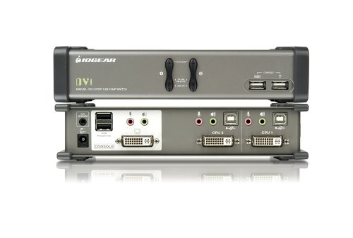 IOGEAR 2-Port DVI KVMP Switch with Audio and Cables, GCS1762