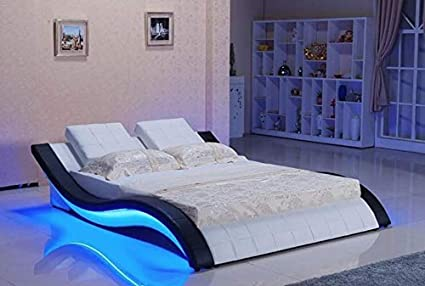 Quality Assure Furniture Hardwood Bed With Sound System For Bedroom King Size Black And White Amazon In Home Kitchen