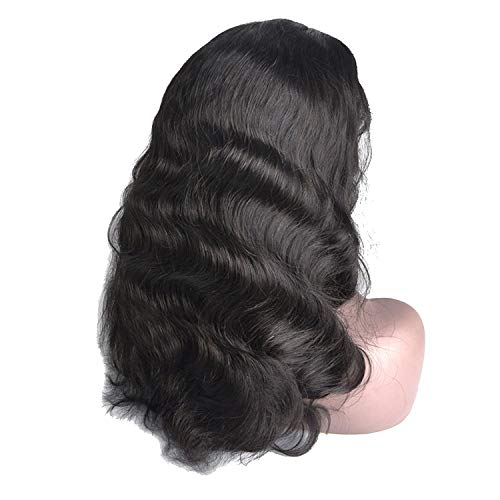 Remy Brazilian Human Hair Wigs Body Wave Baby Hair and Pre Plucked Natural Color black lace front hair wig,22inches]()