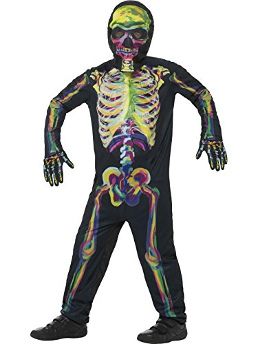Glow-In-The-Dark Kids Halloween Costumes: Smiffy's 45124S Glow in the Dark Skeleton Costume, Multicolor