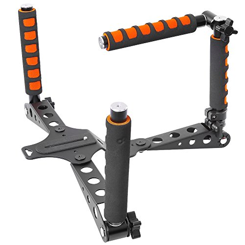 Neewer Aluminium Alloy Foldable Rig Movie Kit Film Making System Shoulder Mount Support Rig Stabilizer for DSLR Camera and Camcorder Such as Canon,Nikon D7100/D7200,Sony A7/A7R/A7S/A7II(Orange) (Best Cheap Camcorder For Filmmaking)