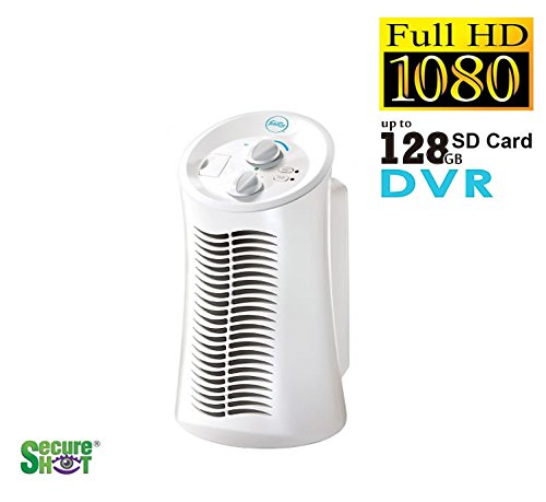 Day & Night Vision Mini Tower Air Purifier Hidden Spy Camera 1080P High Definition Secureshot DVR Up to 128GB SD (Nanny Cam Air Purifier)