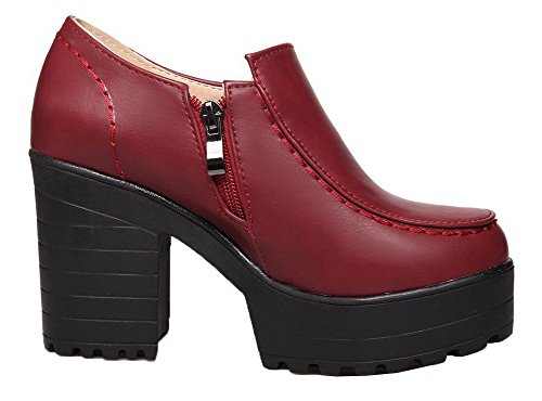 VogueZone009 Women's Solid PU High-Heels Round Closed Toe Zipper Pumps-Shoes Red EQwjG1