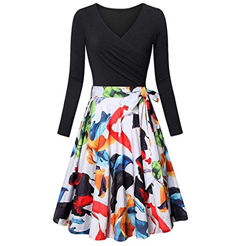 Moserian Dress for Women Long Sleeve V- Neck Dress Vintage Elegant Flared ()