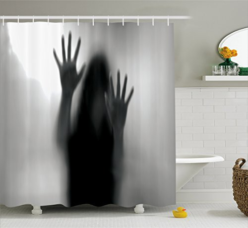 Lunarable Horror House Shower Curtain, Silhouette of Woman behind the Veil Scared to Death Obscured Paranormal Photo Print, Fabric Bathroom Decor Set with Hooks, 105 Inches Extra Wide, Gray by Lunarable