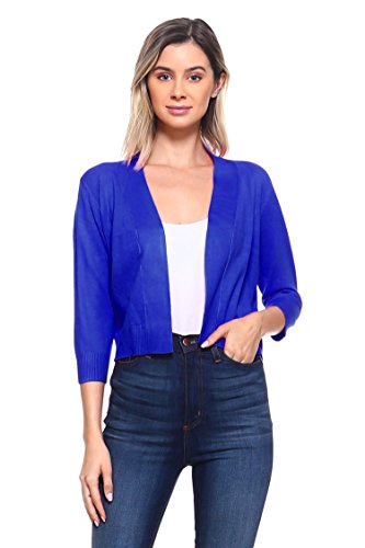 (CIELO Women's Soft Solid Colored Open Front 3/4 Sleeve Cardigan Royal)