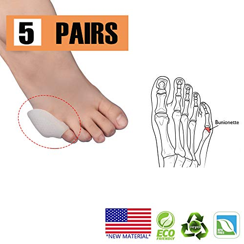 Pinky Toe Protector Bunion Corrector,New Material,Gel Little Toe Separator bunionette Cushion Sleeve Splint for Overlapping Toe, Pinky Hammer Toes. (White)