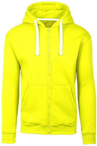 JC DISTRO Plus Size Hipster Hip Hop Basic Zip-Up Lime Hoodie Jacket 4XL by JC DISTRO