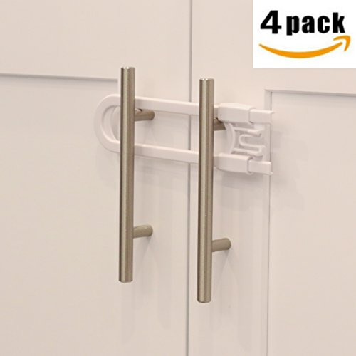"Sliding Cabinet Locks For Child Safety | Baby Proof Your Knobs & handles up to 5"" apart Childproof Safety Locks by Jool Baby (4 Pack)"