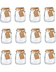 12 Pieces Glass Yogurt Jars with Tags and String, 7 Oz/200 Ml Mini Milk Containers Ideal for DIY Pudding Jelly Mousse Wedding Favors Honey Pot Gift Holders