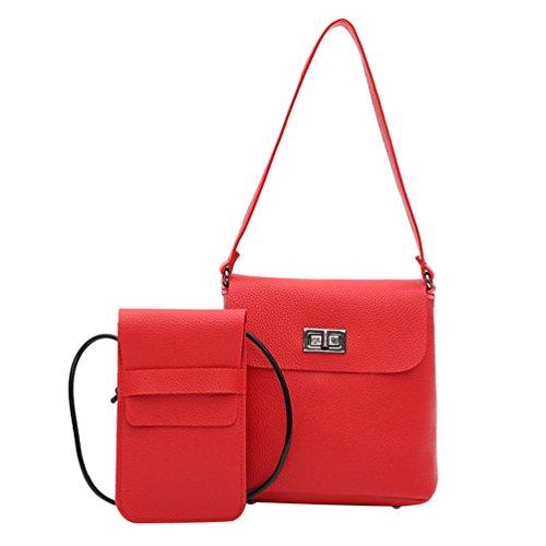 Classique Cuir PU 1 Femmes 2Pcs Rouge Sac Set Anguang Main à d'Épaule Sac Bandoulière Sac en Messenger X7TYqgf
