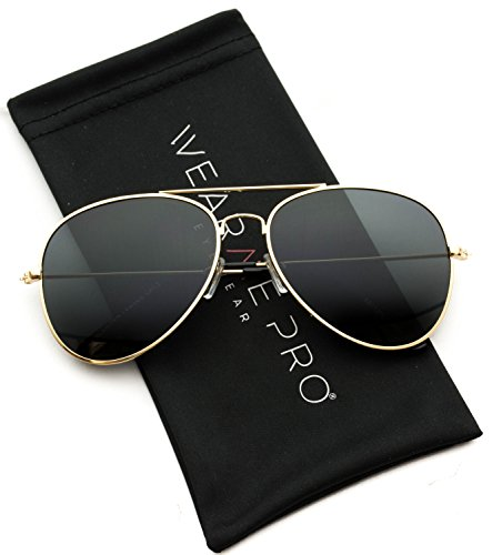 Gold Pilot - WearMe Pro - Polarized Metal Frame Pilot Style Aviator Sunglasses (Spring Hinge: Gold/Black, 60)