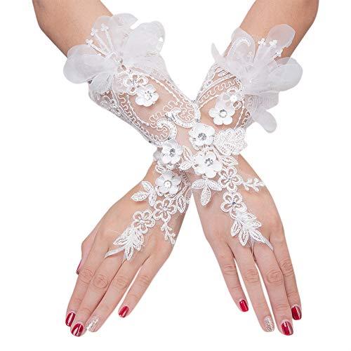 Elegant Satin Lace Gloves Bridal Gloves for Bride Flower Girls Women Wedding Prom Party