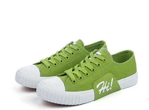 SHFANG Lady Zapatos Bajo Ayuda Plano Fondo Lona Movimiento Cómodo Ocio Estudiantes Escuela Diaria Cuatro colores Green