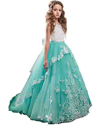 Flower Girl Dress Kids Lace Beaded Pageant Ball Gowns (Size 4, B -
