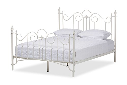 Baxton Studio Juliette Vintage Industrial Finished Metal Size Platform Bed, Full, White