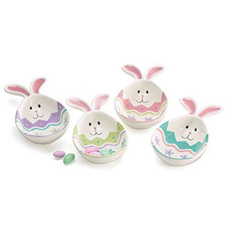 Burton Spring Easter Bunny Face Egg Shaped Ceramic Candy Dis