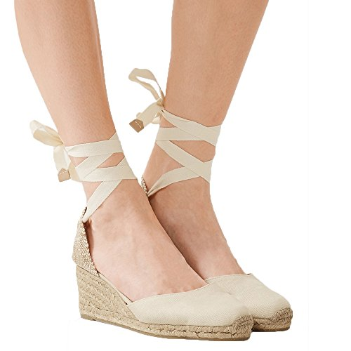 Wrap Around Ankle Strap (Women's lace up ankle straps wedge platform sandals espadrille strappy gladiator summer dress shoes)