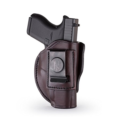 1791 GUNLEATHER 4-Way Glock 43 Holster - OWB and IWB CCW Holster - Right Handed Leather Gun Holster - Fits Glock 43, Glock 42, Kahr CW380 and S&W Bodyguard (Signature Brown)