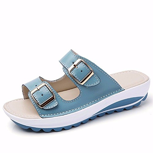 European The Outdoor Europeo Ladies' 36 39 BTBTAV Blu Pelle Pantofola Code Piatto Estate In Con Pantofole Fondo Blue Codice xZESwf