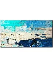 Pintura Al Óleo Pintada A Mano,Pintura Al Óleo Pintado A Mano Puro Tamaño Grande Abstracto Minimalista Moderno Retro Azul Azul Oscuro Humor Arte Graffiti Mural De Fondo La Pintura De Aceite Para El Ho