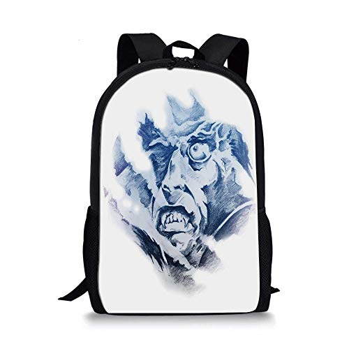 Vampire Stylish School Bag,Evil Face in Fractal Painting Style Fantasy Monster Fictional Character for Boys,11''L x 5''W x 17''H]()