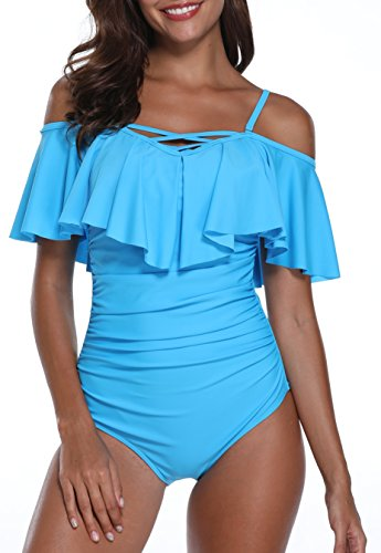 Holipick Women One Piece Sexy V Neck Off Shoulder Ruched Swimsuit Light Blue XL