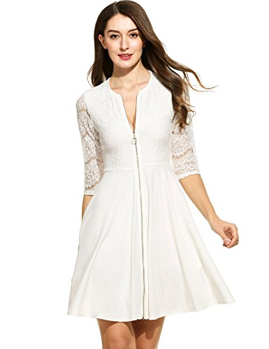 Zipper Patchwork Beyove Dress Line A Party Front Lace White Cocktail Dress Women's Flare r0w0XqRH