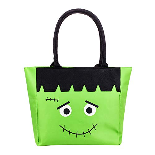 ERANLEE Trick or Treat Bag Reusable Frankenstein Character Handbag Children's Fabric Candy Tote Bag Storage Bags for Kids Green by ERANLEE