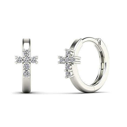 - JewelAngel Women's 14K White Gold 1/8 Carat TDW Diamond Cross Hoop Earrings (H-I, I1-I2)
