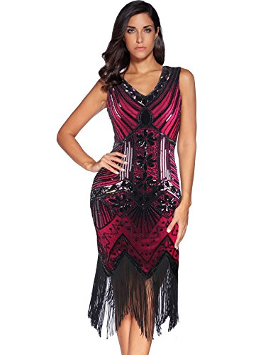 Meilun 1920s Sequined Inspired Beaded Gatsby Flapper Evening Dress Prom (XXL, Rose Red)]()
