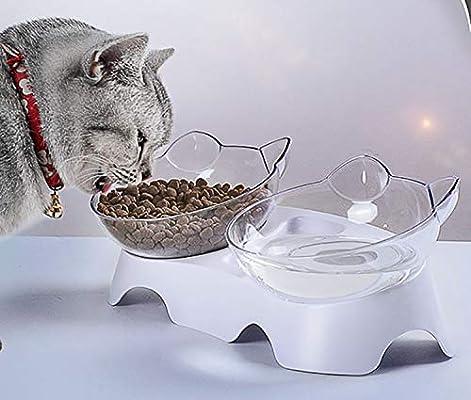 SKJIND - Cuencos dobles inclinados para gatos: Amazon.es ...