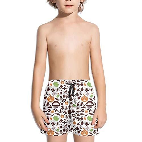 LKIMNJ Boys Board Shorts Halloween Ghost Pumpkin Quick Dry Casual Beach Board Shorts