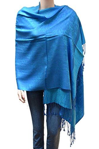 Flyingeagle Trade Jacquard Paisley Pashmina Shawl Scarf Stole for Women (Aqua Blue-122)