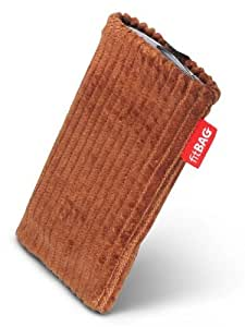 fitBAG Retro Marrón Chocolate - Funda a medida, Exterior de pana, con forro interno de microfibra, para Nokia X3