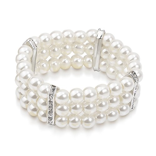 Katie's Style Simulated Pearl Crystal 3- - 3 Row Stretch Pearl Bracelet Shopping Results