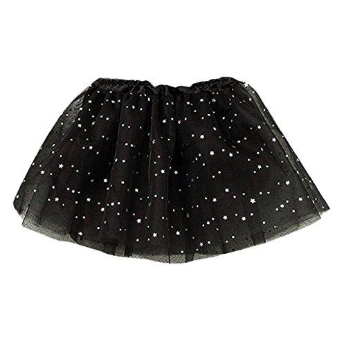 Morecome Kids Girls Princess Stars Sequins Party Dance Ballet Skirts (Black)